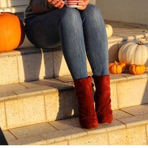 Free people maroon suede booties